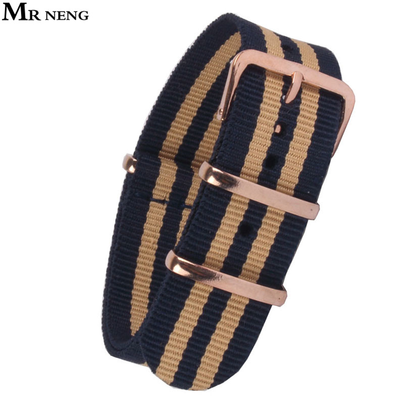 Cheap Price Mr Neng Brand Watchband 18mm 20mm 22mm High Quality Nato Nylon Wach Band Rose Gold Buckle White Color Watch Strap Available Watch Accessories