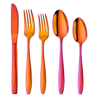 Rainbow Gold European Dinner Set 18/8 Stainless Steel Dinnerware Luxury Engraved Knife Fork Tablespoon Tableware Cutlery Sets