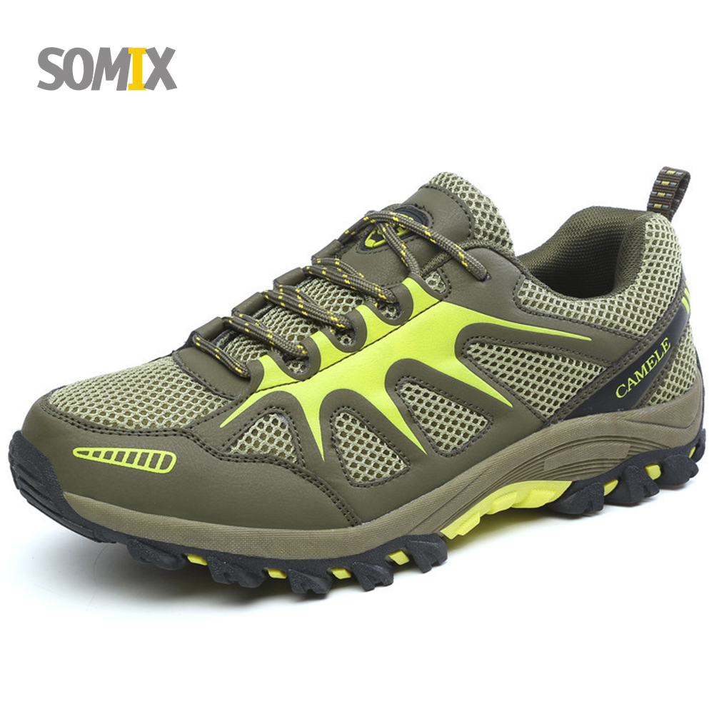 ФОТО Somix New Men Breathable Hiking Shoes Big Size Mountain Outdoor Boots Trekking Outdoor Sport Sneakers Men Shoes Climbing Shoes