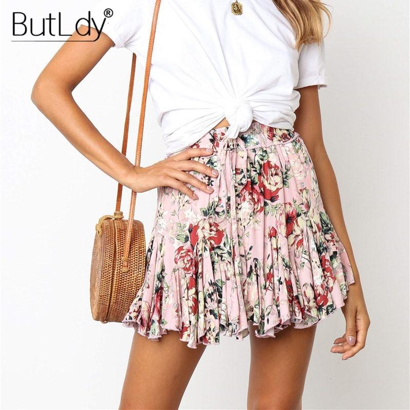 Printed Leopard Floral Pleated Ruffles Mini Short Skirt Women 2019 Summer Bohemian Casual Beach Skirts Sexy A Line Skirt