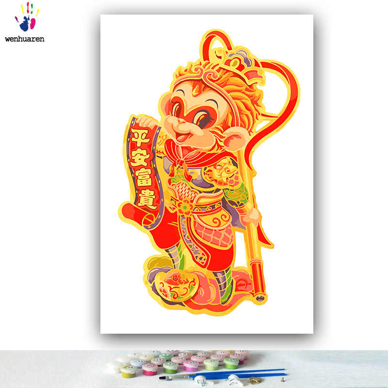 DIY colorings pictures by numbers with colors New year dog New year monkey picture drawing painting by numbers framed Home