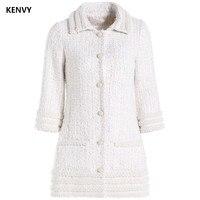 KENVY Brand Fashion Women's High end Luxury Winter Elegant Pearl Tweed Lapel Woolen Coat