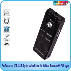 Free shipping! Professional 4GB USB Digital Voice Recorder with Video Recorder and MP3 Function
