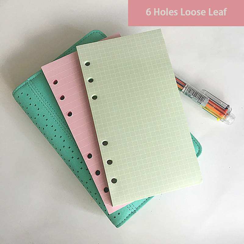 A5 A6 Colorful Refill Inner Pages 6 Holes Loose Leaf Paper