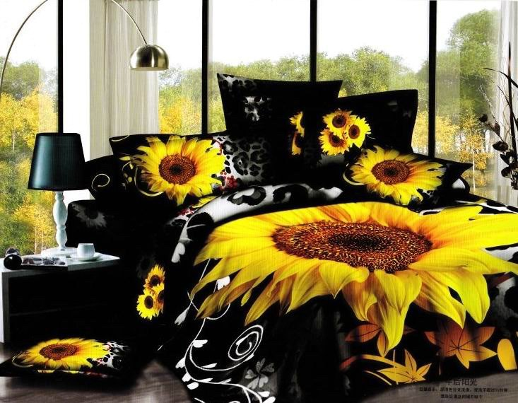 3D Black sunflower flower floral bedding set sets queen size bed in a bag sheet sheets duvet cover bedspread cotton ho