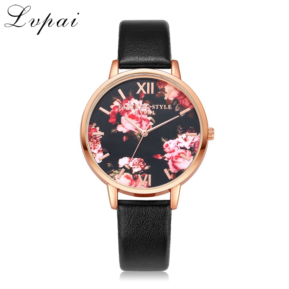 Hot Sale Lvpai Famous Brand Rose Gold Dress Watches Flowers Leather Fashion Wristwatches Women Luxury Quartz Watch Clock