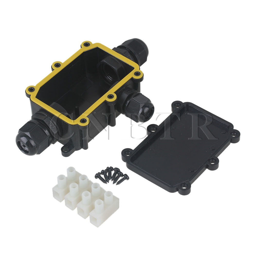 Plastic Waterproof IP68 Outdoor 3 Way Junction Box and Terminal Black CNBTR waterproof black ip68 plastic cable wire connector gland electrical 3 cable junction box with terminal