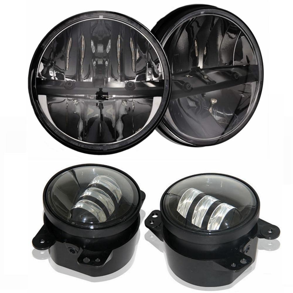 2x 7 Inch Round LED Headlight Kit + 2x 4 Fog Lights Driving Lamp for 2007~2015 Jeep Wrangler Jk black chrome round 75w high low beam drl led auto headlight driving fog lights for jeep wrangler hummer h1 h2 offroad