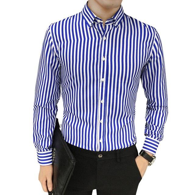 e593d80c4 Camisa de manga larga a rayas de algodón para hombre