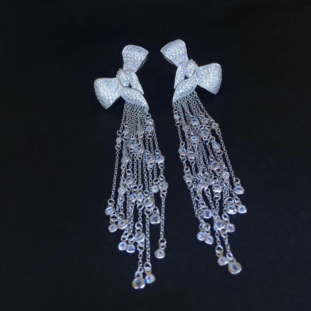 long tassels earring multi layers 925 sterling silver bowknot stud earring fine women jewelry party earring free shipping hot brand pure 925 sterling silver jewelry for women gifts bowknot earring 5a cubic zirconia bowknot stud earring party jewelry