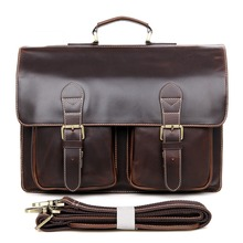 JMD Hot Selling Genuine Cow Leather Mens Hand Briefcases Laptop Handbag Messenger Bag 7105Q