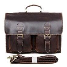 JMD Hot Selling Genuine Cow Leather Men's Hand Briefcases Laptop Handbag Messenger Bag 7105Q