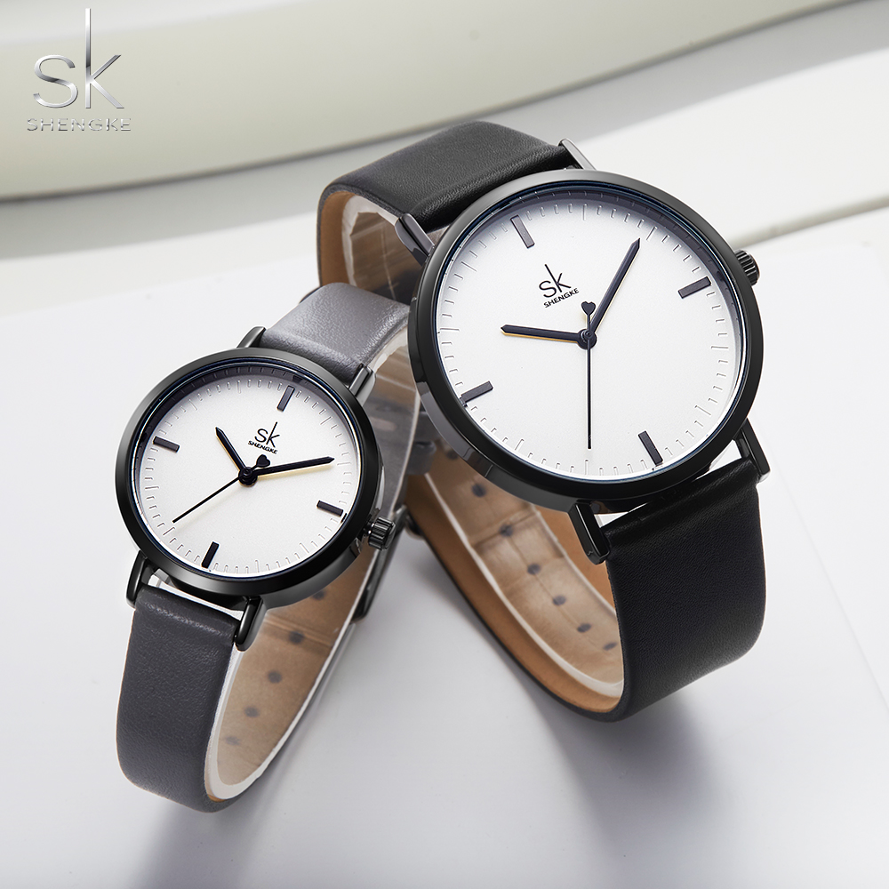 Shengke Lover Fashion Black Leather Strap Watch Men Women Wristwatch Couple Watches Gift Set Quartz Japanese Watch  Montre Femme
