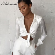 NATTEMAID Rompers Womens Jumpsuit Sexy Casual Black White Skinny Bodycon Playsuit Deep V Neck Full Sleeve