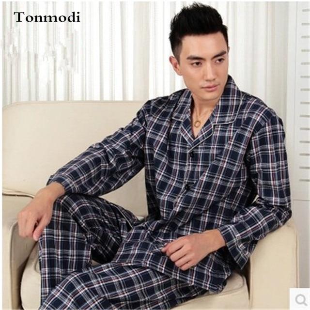 5881afb279 Men s Pajamas Spring And Autumn Sleeping Cotton Woven Classic Plaid Mens  Pyjamas Men s Sleep Lounge Pajama