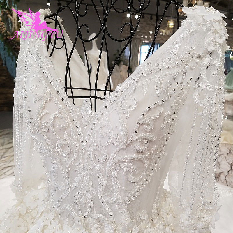Image 3 - AIJINGYU New Wedding Dresses With Sleeves Vintage Brush For Bride White Corset Exotic Sexy Plain Sell Gown Bridal VeilWedding Dresses   -