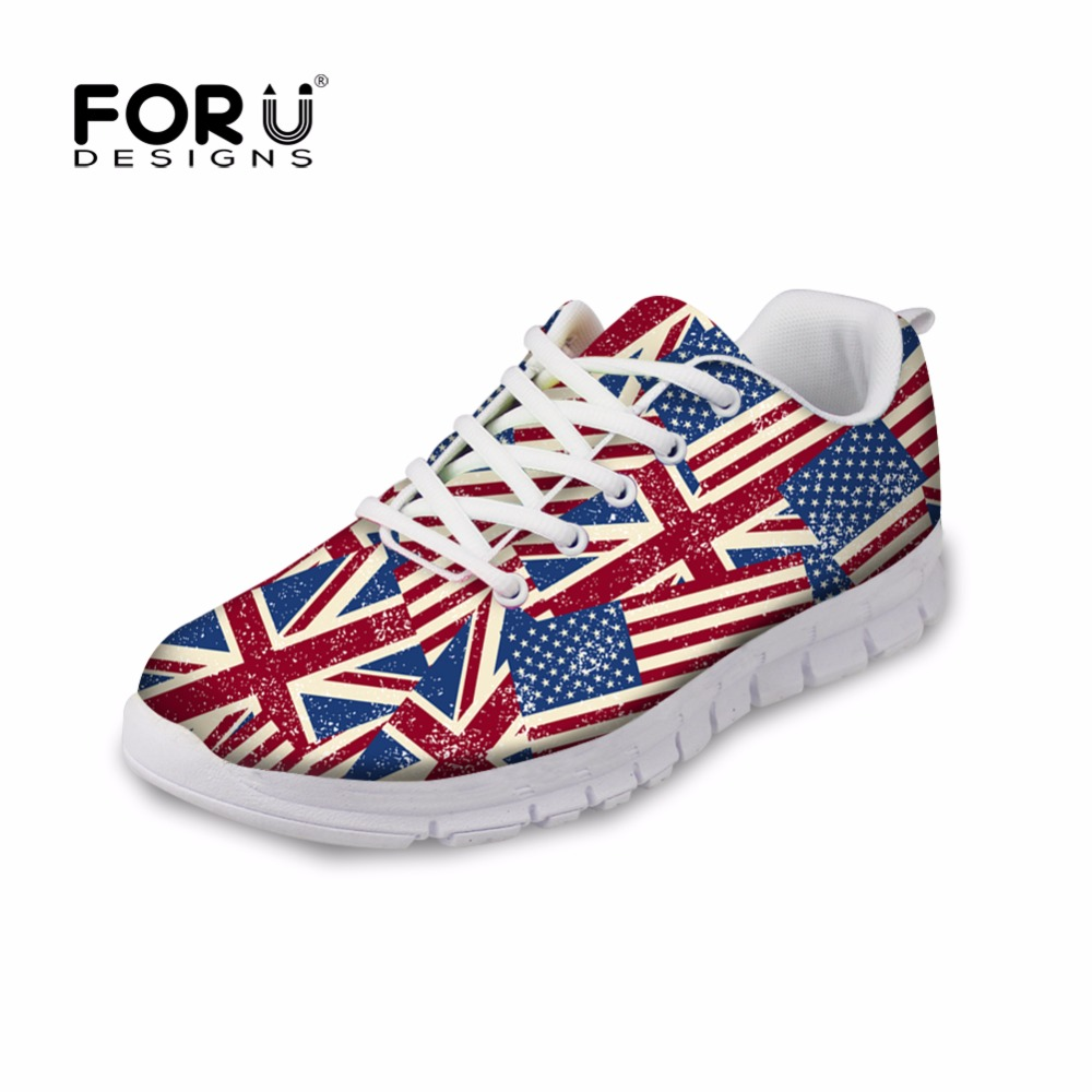 FORUDESIGNS 2018 Stylish Women Autumn Casual Flat Shoes Fashion Britain Style Union Flag Printed Woman Flats Ladies Lace Up Shoe forudesigns casual women flats shoes woman fashion graffiti design autumn lace up flat shoe for teenage girls zapatos mujer 2017