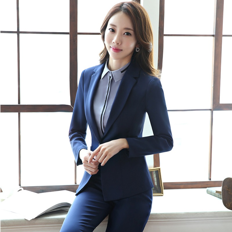 Plus Size Novelty Blue Slim Fashion Formal Pantsuits With Jackets And Pants For Ladies Professional Blazers Trousers Set
