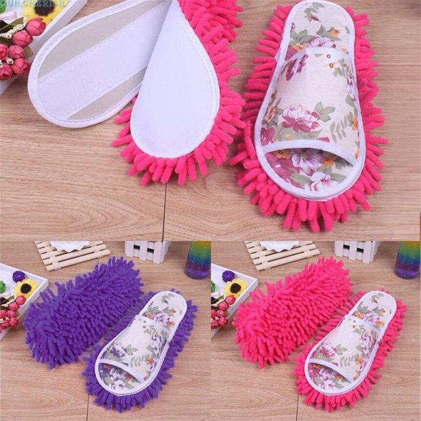 Our Cherish Lovely Pet Women Dust Mop Slippers Socks Microfiber House Slippers Bedroom Shoes