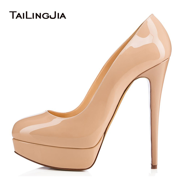 587948b2165 Round Toe Platforms for Women Shiny Nude High Heel Pumps Black Patent  Leather Dress Shoes Ladies Summer Stiletto Heels 2018