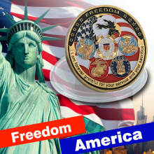 Free Shipping 20pcs/lot, U.S. United States | Freedom America Eagle Military Gold Plated Challenge Coin