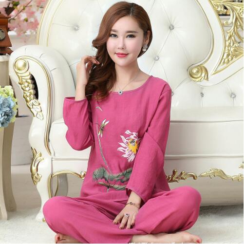 red blue XL XXL 3XL 4XL Plus Size Cotton Linen Pijamas Spring Autumn Long Sleeve Print Family Pajama Set Sleepwear Tracksuit