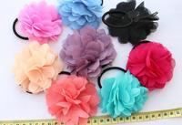 30 pcs big Chiffon handmade Flowers Fabric rose Rosette hair band mixed colors 75-85mm handmade ponytail holder