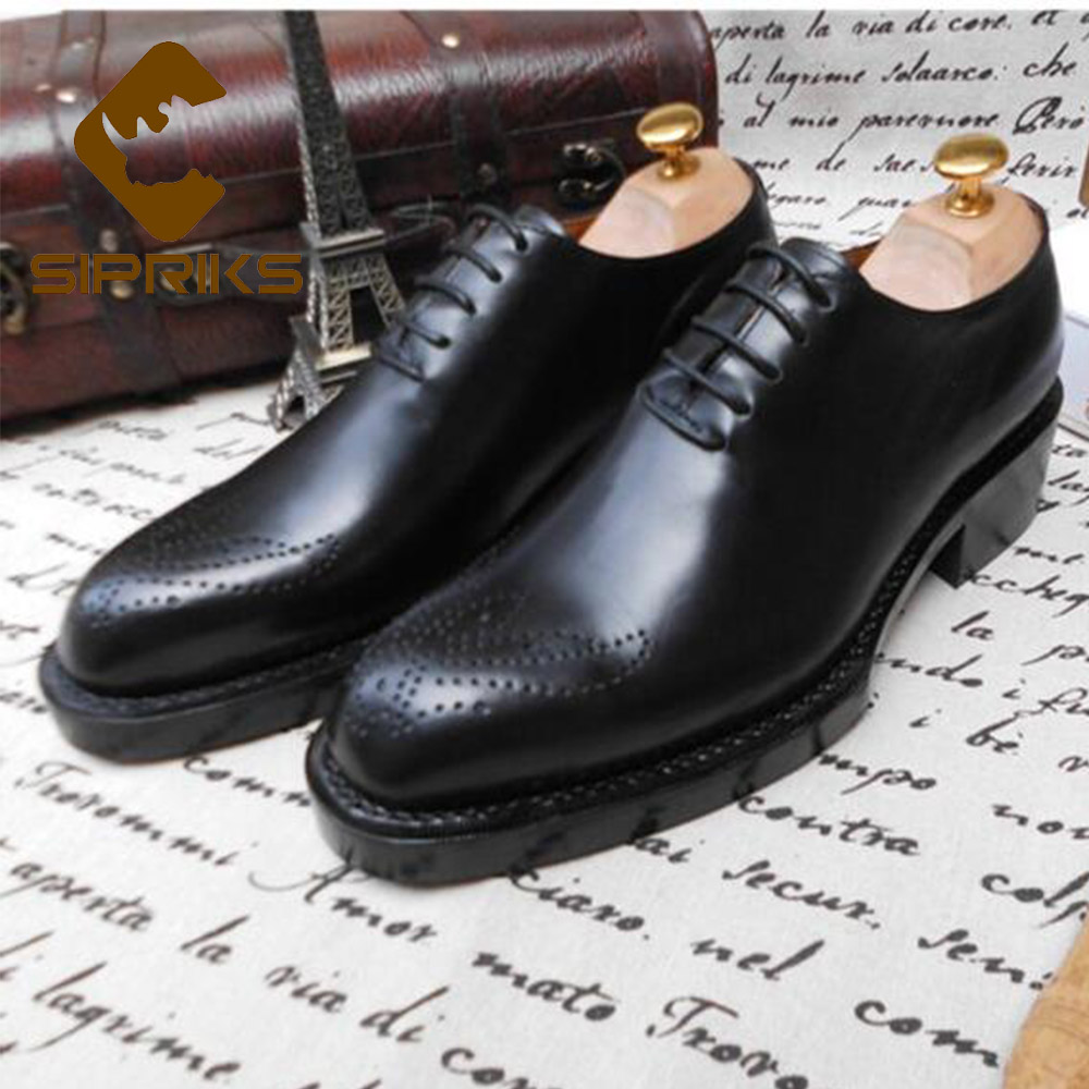 Sipriks Luxury Mens Goodyear Welted Shoes Dark Brown Carved Brogues Vintage Boss Lace Up Formal Flats Work Business Office Style набор 4m 00 03235 космическая ракета