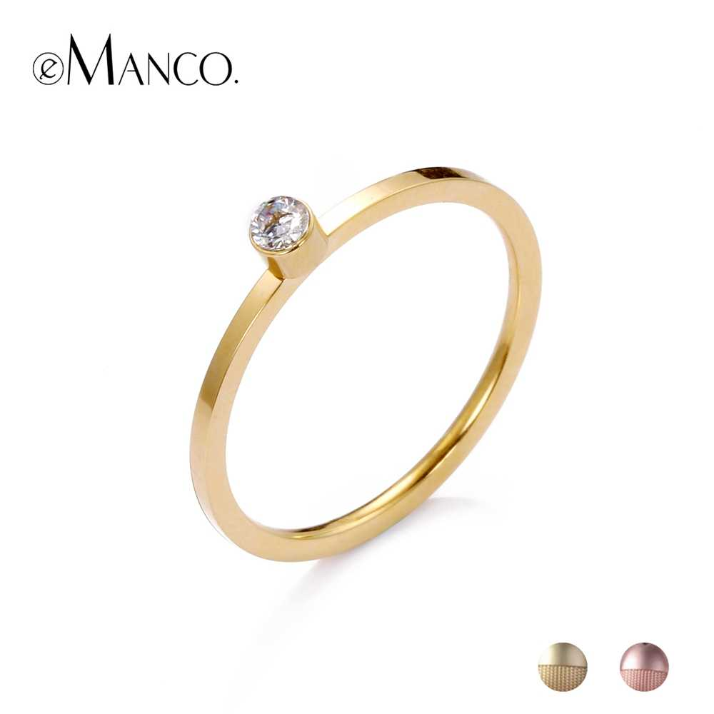 eManco Stainless Steel Rings With Cubic Zirconia Simple Rings For Women Rose Gold Color Luxury Fashion Anniversary Gifts
