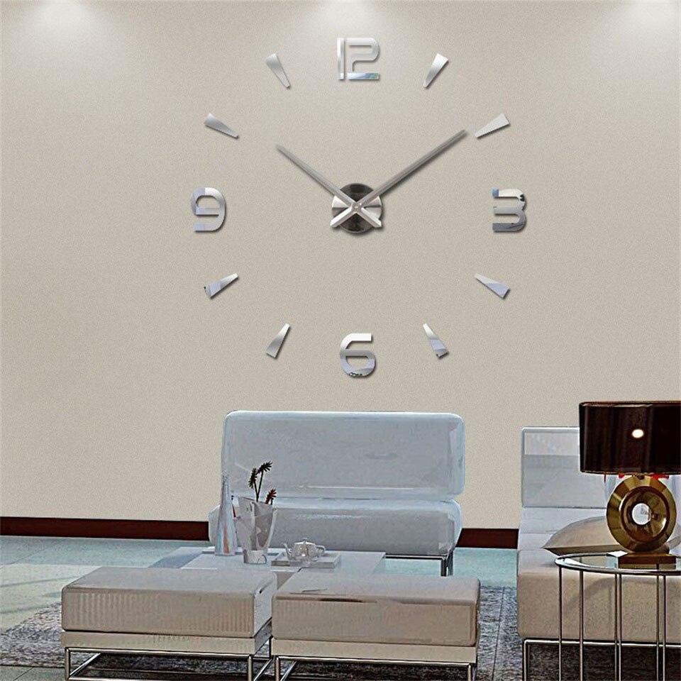 living room diy large quartz acrylic mirror wall clock