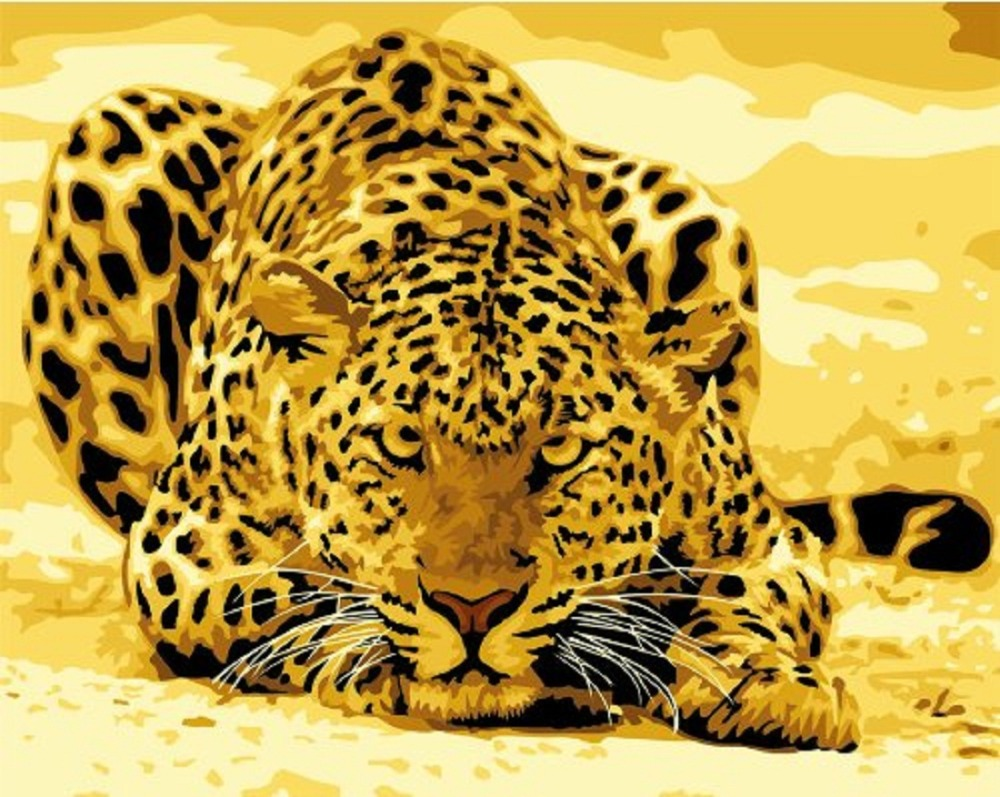African Leopard Diy Oil Painting By Number Kits Golden