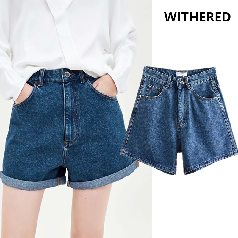 Withered Mom Denim Shorts Women High Street Washed Blue High Waist Roll Up Short Feminino Plus Size Women Short Plus Size