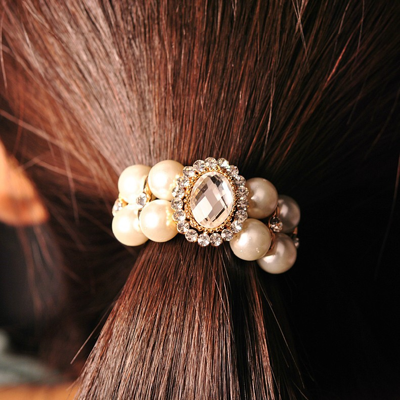 Hair headwear South Korea Han edition set auger pearl hair ring hair rope The hair is small adorn article han edition of the new bankcard yarn rope ribbon hair with hair hoop hair tire wholesale