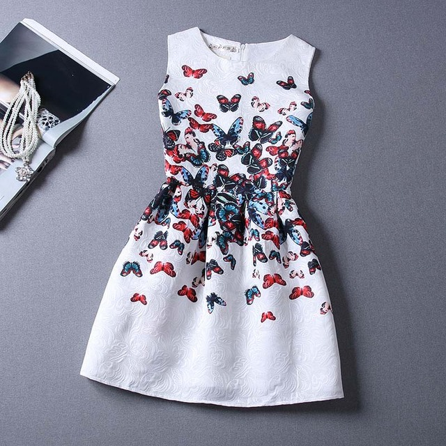 Summer European style costumes family flower fashion printing  dresses