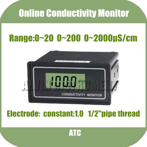 Free Shipping Online Conductivity Monitor Tester METER Analyzer 0-2000us/cm Error:2%F.S ATC buy monitor cable online india