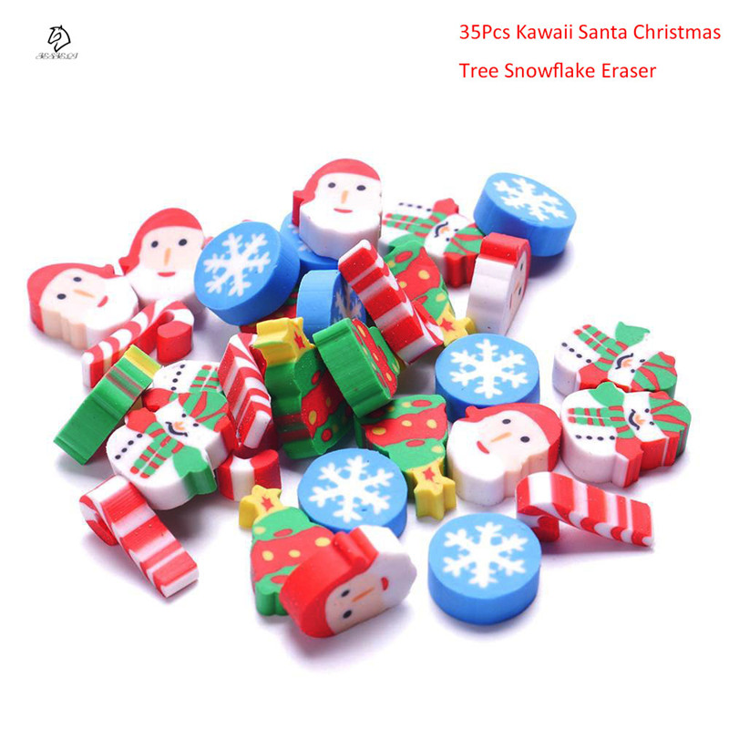 35Pcs/Pack Mini Kawaii Eraser Cartoon Santa Christmas Tree Snowflake school Office supplies Rubber Eraser christmas gift flannel thin snowflake christmas tree bath rug