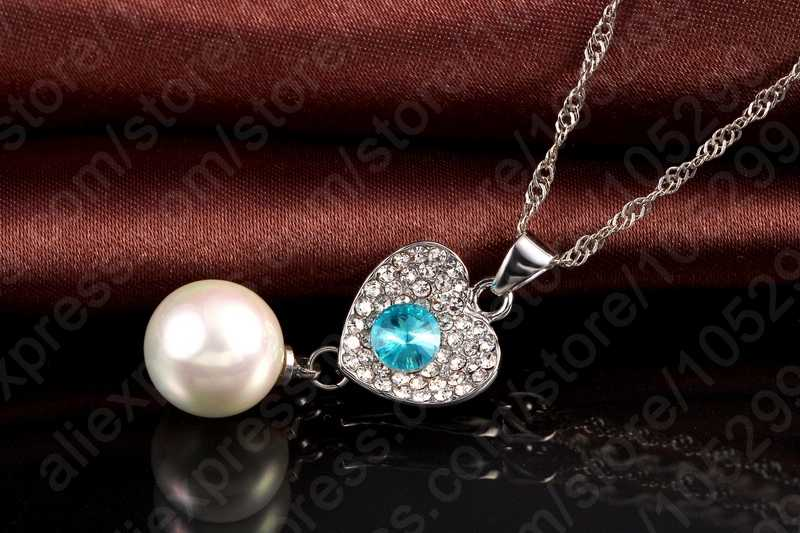 Wedding Fine Jewelry Sets Real Pure 925 Sterling Silver Cubic Zircon Crystal Pendant Necklace Earring Pearl Engagement Set