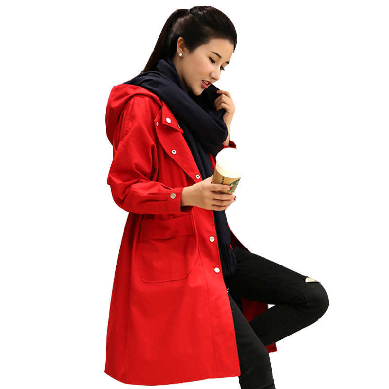 2019 Spring Autumn Woman Hooded Red   Trench   Coat Korean New Womens long windbreaker Business Outerwear Loose Lace Up Ladies coats