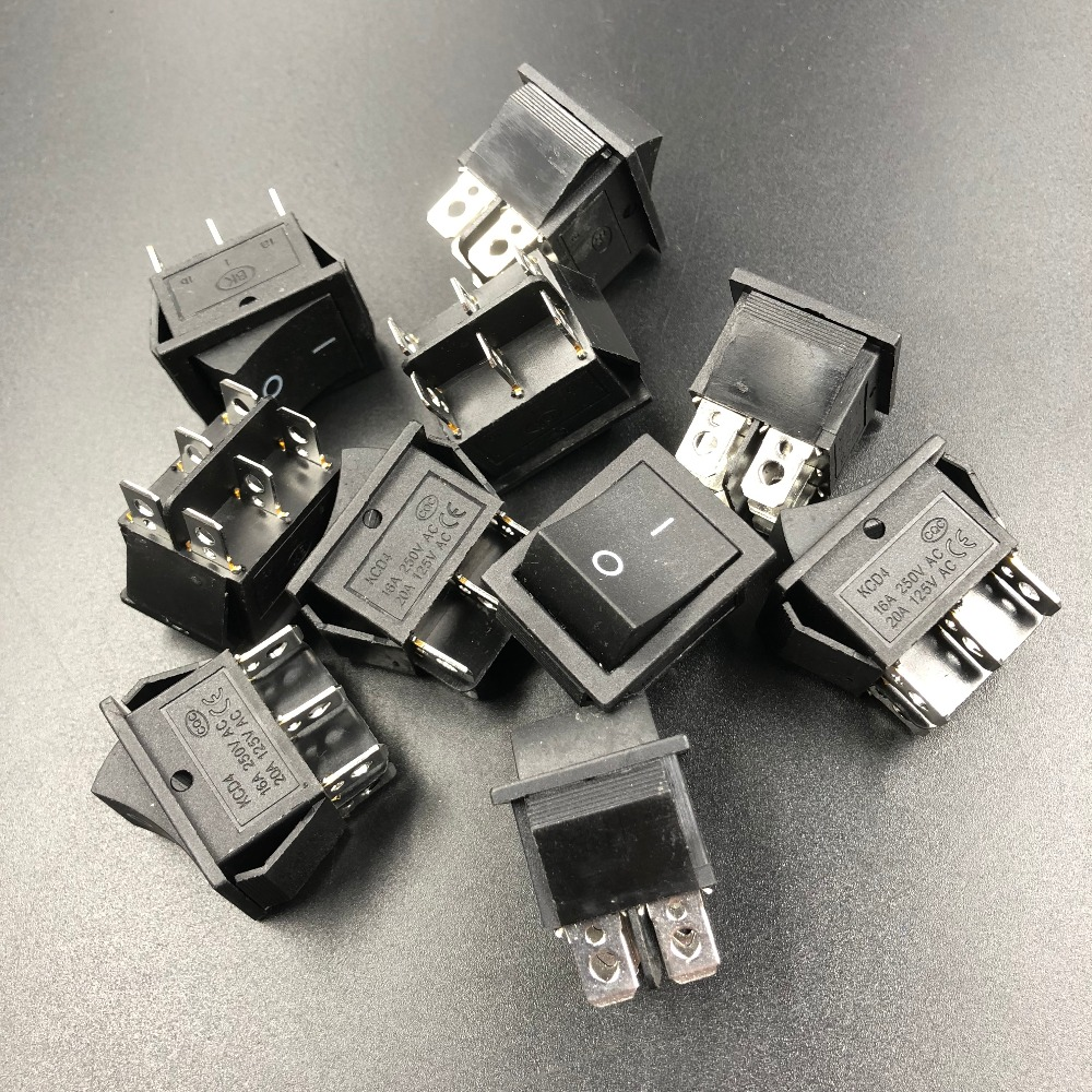 5pcs/lot 6A/250V Three 3 ways Black Rocker Switch on/off with 6 foot 6 pins 50pcs lot fr9220 200v 3 6a