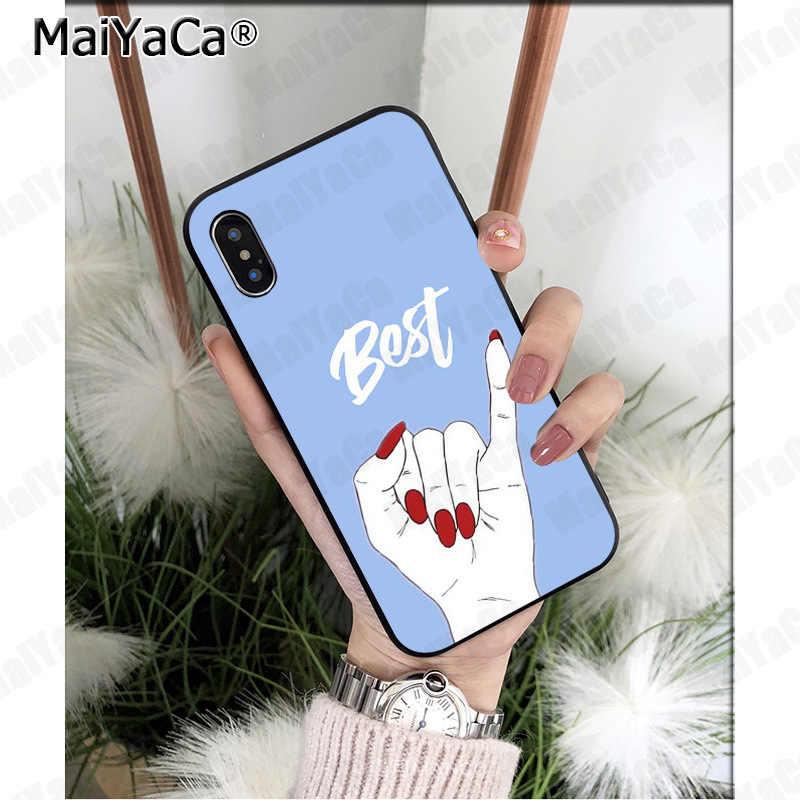 MaiYaCa بسيط الفن أفضل صديق الاصبع الملونة غطاء ذكي جراب هاتف لابل آيفون 11 برو 8 7 66S زائد X 5s SE XS XR XS ماكس