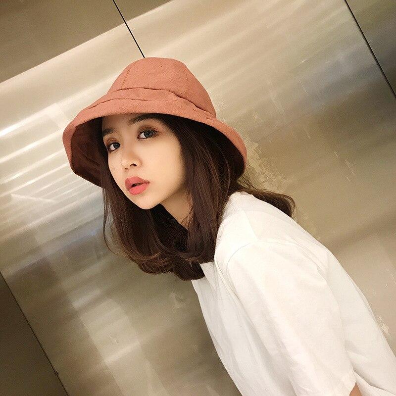 Radient Ht1589 Korea Cotton Panama Bucket Hat Women Casual Solid Plain Fishing Fisherman Cap Hat Packable Wide Brim Beach Summer Sun Hat Quality And Quantity Assured Apparel Accessories