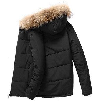 AmberHeard 2019 New Winter Warm Parka Jackets Men Long Hooded Cashmere Thick Coats Mens Fur Collar Fleece Parkas Plus Size L-9XL
