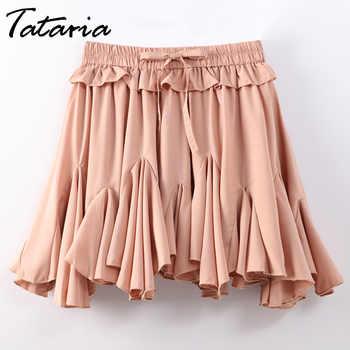 Ladies Chiffon Skirts Womens Summer High Waist A Line Mini Skirt 2020 Mini Sexy Skirts Female Spliced Woman Pleated School Skirt - DISCOUNT ITEM  40 OFF Women\'s Clothing