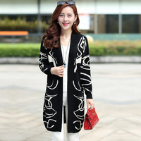 Korean version of fertilizer to increase size women fat MM spring knit cardigan B wool long sections loose sweater coat