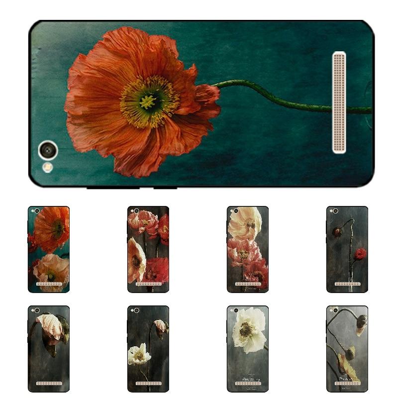 5.0 дюймов телефон чехол для Xiaomi Redmi 4A Черный Мягкие TPU крышка ультра тонкий полный кожи для Hongmi 4A В виде ракушки цвет Blossom Fundas