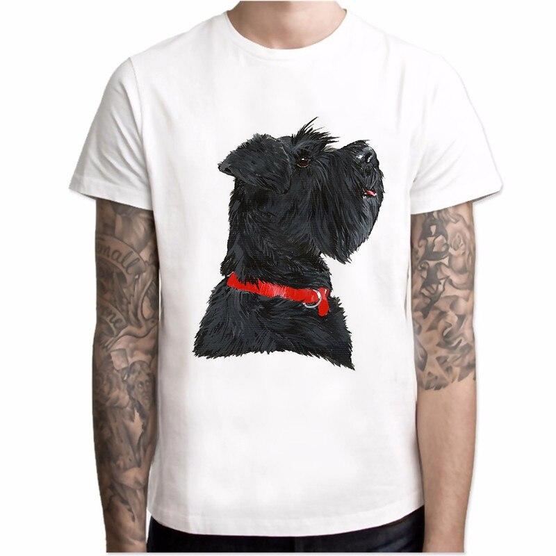T shirt Men Miniature Black Schnauzer Head Print New Summer Fashion Dog Casual Tops men Novelty white o-neck Cool hipster Tees