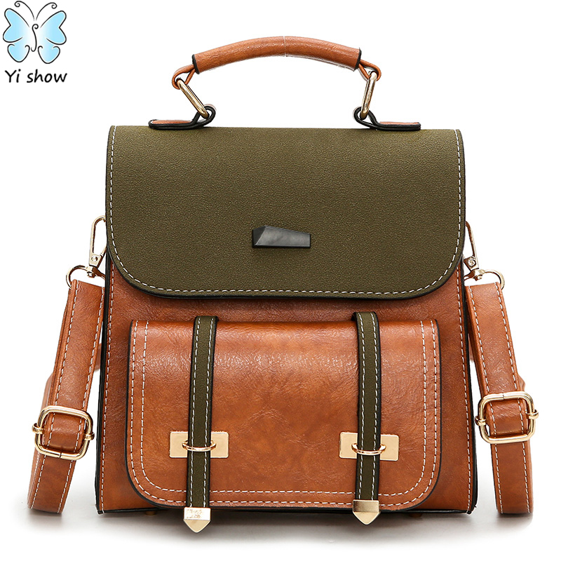 YISHOW 2018 Fashion Woman Back Pack PU Leather Bagpack Constrast Matte Itao Bag College Style Patchwork Mini Backpack H180511