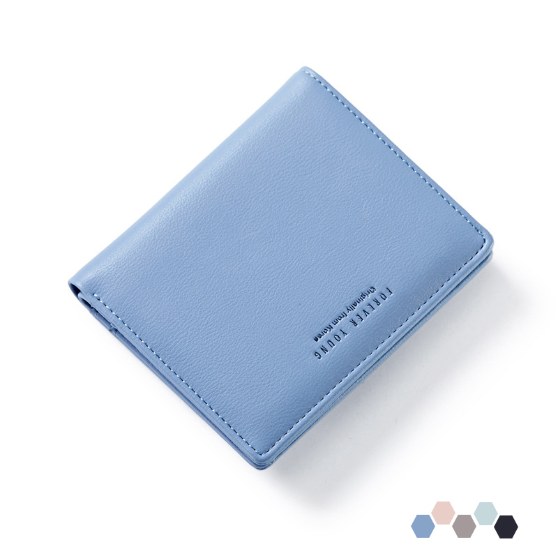Forever Young Women Short Wallet Leather Coin Purse Card Holder Female Perse for Money and Zipper Slim Ladies Woman Carteira