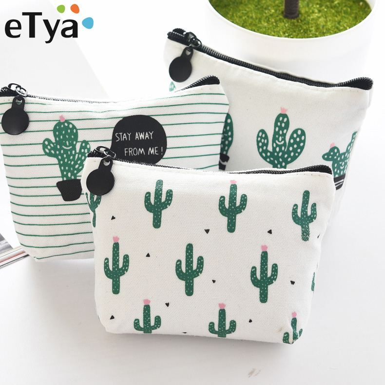eTya Small Cute Kids gift Coin Wallet Cactus Children Purse Change Pouch Key Holder Bag Women Coin Purse wallet Money Pouch
