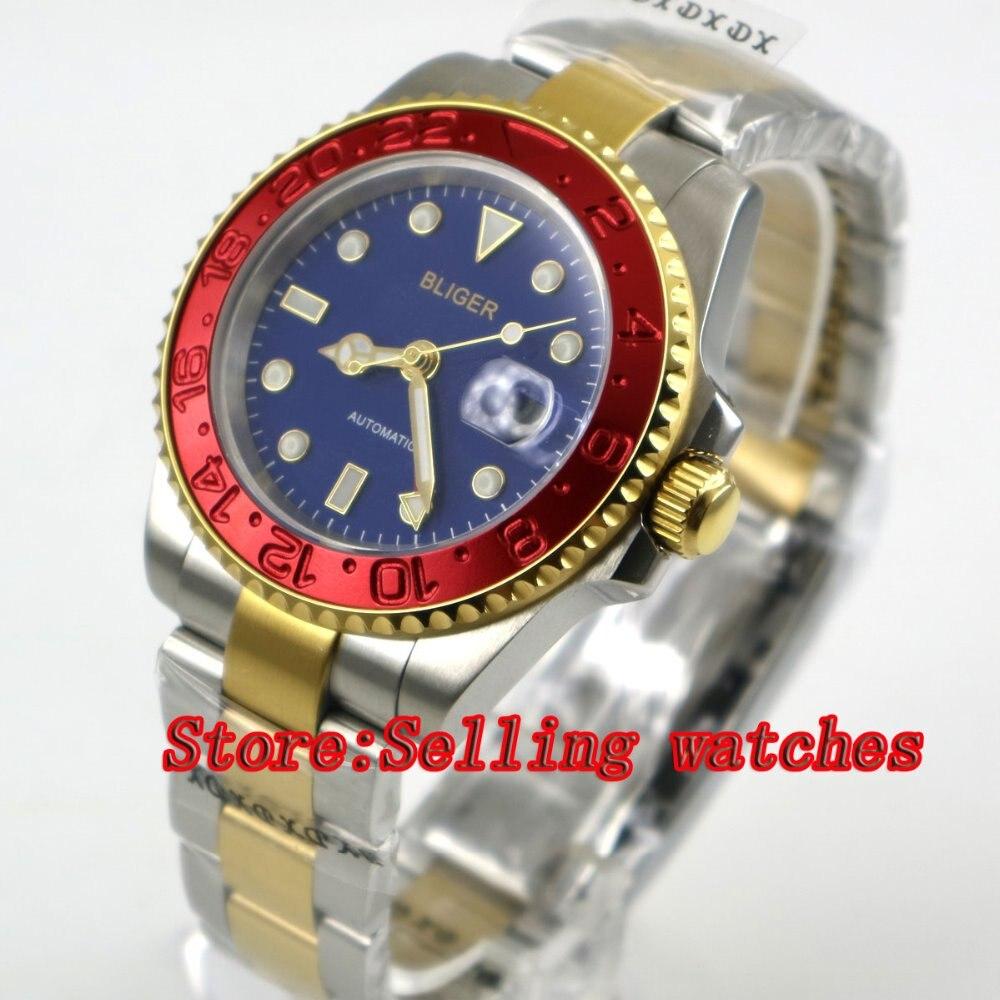 все цены на 40mm bliger blue dial sapphire glass Red bezel GMT date automatic men watch онлайн
